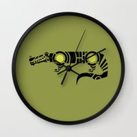 crocodile Wall Clocks featuring Crocodile by Hinterlund