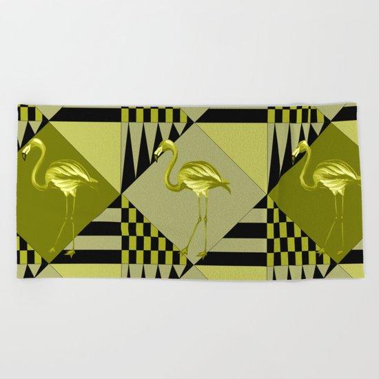 flamingo in green Beach Towel