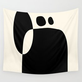 shapes black white minimal abstract art Wall Tapestry