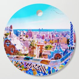 Park Guell Watercolor painting Cutting Board