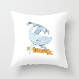 Big Love (gold and blue) Humpback Whales Throw Pillow