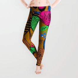 New Fashion Vector Flowers Pattern Leggings