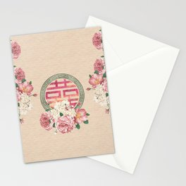 Watercolor Double Happiness Symbol with  Peony flowers Stationery Cards
