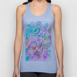 floral alcohol ink painting Unisex Tank Top