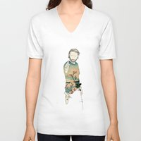 grimes V-neck T-shirts featuring Rick Grimes by Cassius