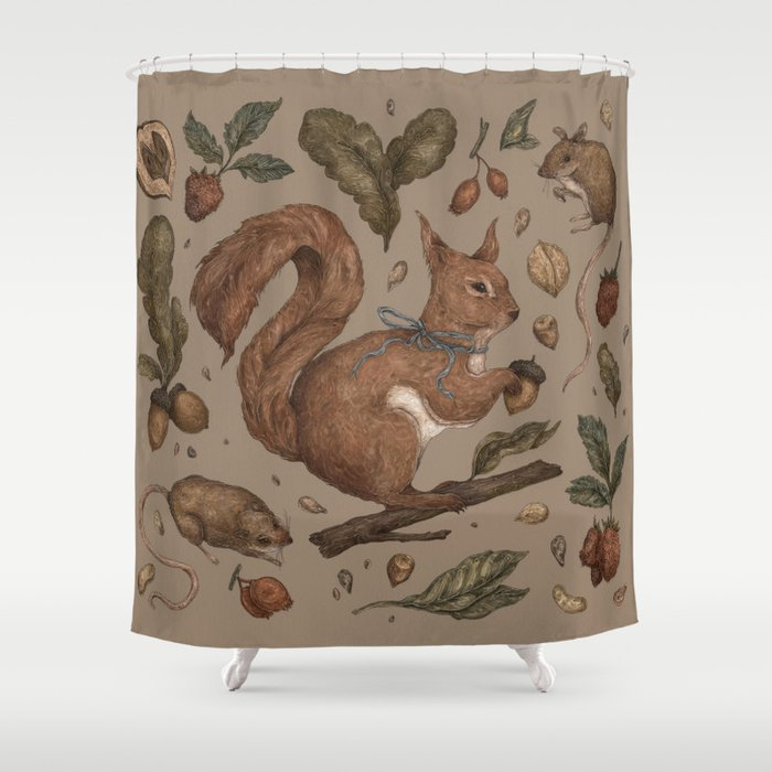 Red Squirrel Shower Curtain By Jessicaroux