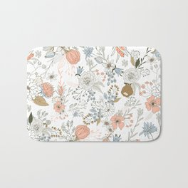 Abstract modern coral white pastel rustic floral Bath Mat