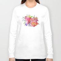 hawaiian Long Sleeve T-shirts featuring Hawaiian Flowers by Nicko-Suave