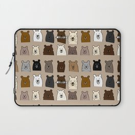 Bear Portraits on Brown Laptop Sleeve