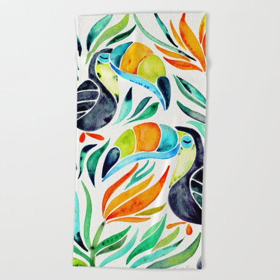 Tropical Toucans Beach Towel