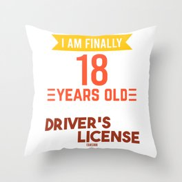 Driver's license 18 Adult Child Birthday Throw Pillow