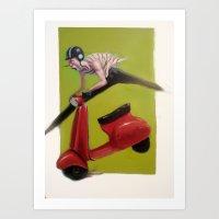moto Art Prints featuring MOTO by XA-BCN