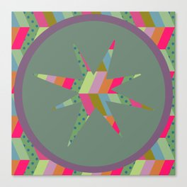 retro pattern and star 1 Canvas Print
