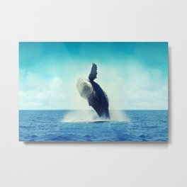 Happy Whale Metal Print