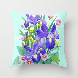 Iris Ikebana Throw Pillow