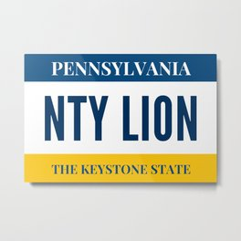 Nittany Lion License Plate Metal Print