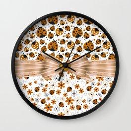 Fancy Orange Ladybugs and Flowers Wall Clock