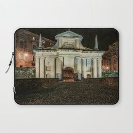 Front view of Porta San Giacomo in the upper city of Bergamo. Night cityscape. Laptop Sleeve
