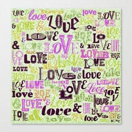 Vintage Love Words Canvas Print