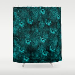 Midnight Butterfly Garden Shower Curtain