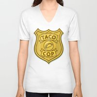 taco V-neck T-shirts featuring Taco Cop by Josh LaFayette