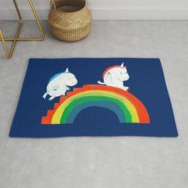 Unicorn on rainbow slide Rug