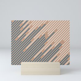 Sandstorm Beige Dark Blue Creamy Off White Lines 2021 Color of The Year Canyon Dusk Accent Shades Mini Art Print