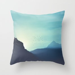 Sundancer - Alpine valley and mountains at sunrise Throw Pillow