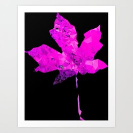 pink geometric polygon maple leaf abstract with black background Art Print