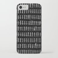 woodstock iPhone & iPod Cases featuring White on Black Woodstock Pattern by LacyDermy
