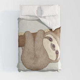 Sloth on the tree Comforters
