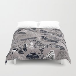 Dragonflies, Butterflies and Moths With Plants on Grey Duvet Cover