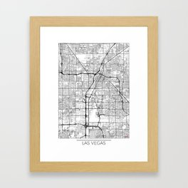 Las Vegas Map White Framed Art Print