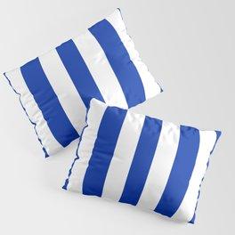 International Klein Blue - solid color - white vertical lines pattern Pillow Sham