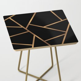Black and Gold Fragments - Geometric Design Side Table