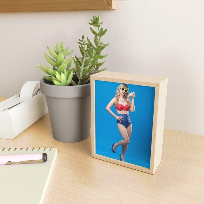 Pin-Up Girl With Shell Framed Mini Art Print