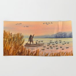 Duck Hunting On A perfect Day Beach Towel