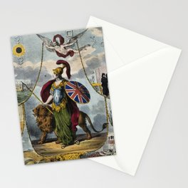 Raphael's Prophetic Almanack: a grieving widow, war, and Britannia (1839) Stationery Cards