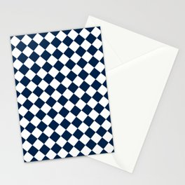 Diamonds - White and Oxford Blue Stationery Cards