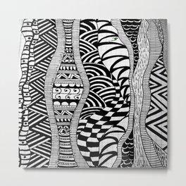 Line Tangle - Zentangle Metal Print