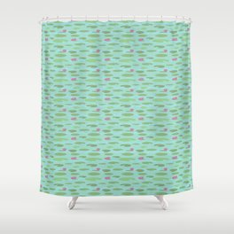 Small Vintage Florida Lily Pads Pattern Shower Curtain