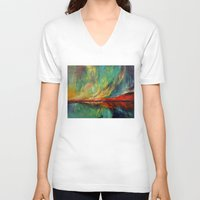 aurora V-neck T-shirts featuring Aurora by Michael Creese
