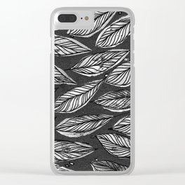 Black & White Leaves Clear iPhone Case