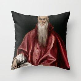 """El Greco (Domenikos Theotokopoulos) """"Saint Jerome as Scholar"""" Throw Pillow"""