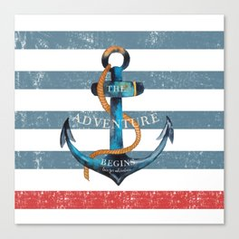 Maritime Design - Nautic Anchor on stripes in blue and red Canvas Print