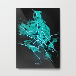 Niamey, Niger, Blue, White, Neon, Glow, City, Map Metal Print