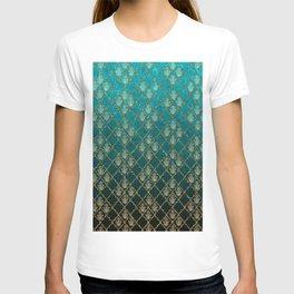 Vintage green faux gold glitter quatrefoil Hamsa T-shirt