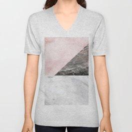 Smokey marble blend - pink and grey stone Unisex V-Neck