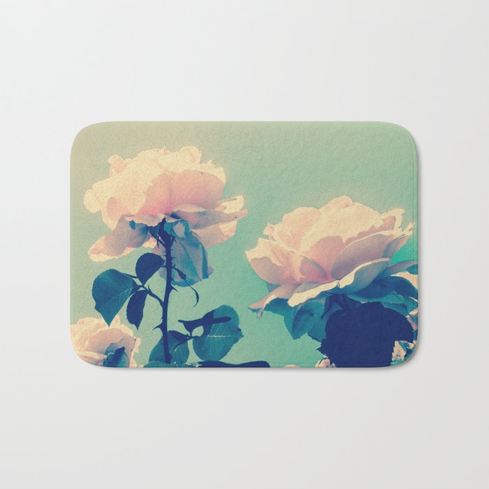 Soft Baby Pink Roses with Mint Blue Sky Backgroud Bath Mat