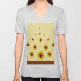 RAINING SUNFLOWERS FLOWERS CREAMY BROWN ART Unisex V-Neck